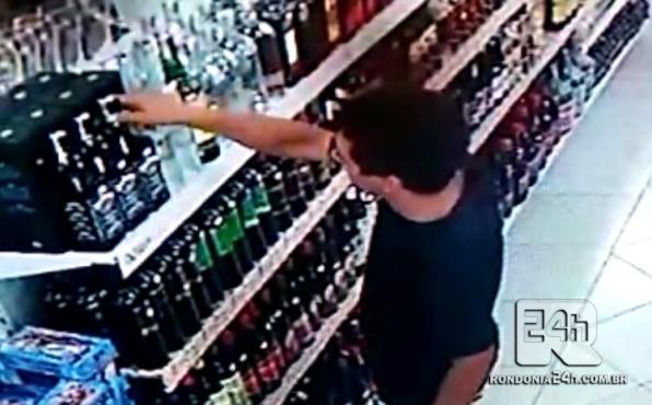 Policiais prendem suspeito de furtos de bebidas em supermercado, em Monte Negro