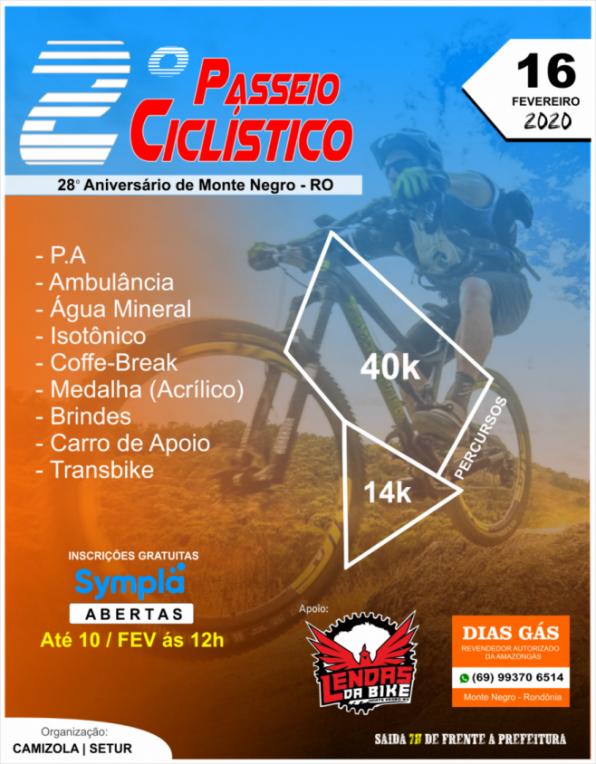 2º Passeio Ciclístico no 28º Aniversário de Monte Negro já conta com mais de 90 ciclistas, em RO